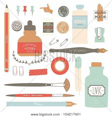 Vintage vector art tools - pens, ink, tag, stamps, brushes, pin.