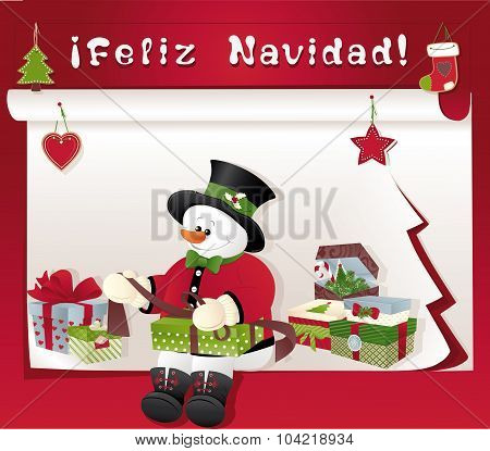 Christmas Card With Snowman, Gift And Feliz Navidad
