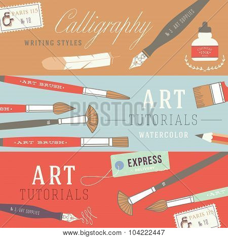 Flat design concepts for art courses