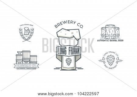 Set of vintage line art badge, logo templates for beer.