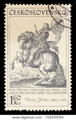 Postage Stamp Printed In Czechoslovakia Showing A Portrait Of Wenceslaus Hollar Riding A Horse