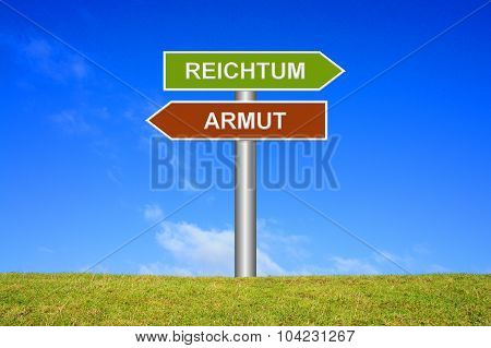 Signpost sign with blue sky and green grass showing wealth or poverty in german language poster