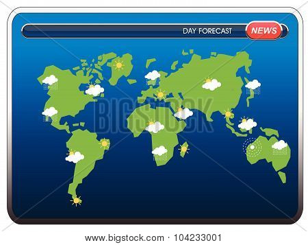 Weather forecast widgets template with World map. Vector illustration.