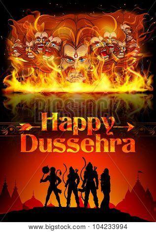 illustration of Lord Rama, Sita, Laxmana, Hanuman and Ravana in Dussehra poster