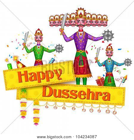 illustration of Ravan Dahan for Happy Dusshera celebration