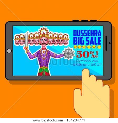 illustration of ten headed Ravana for Happy Dussehra mobile application sale promotion