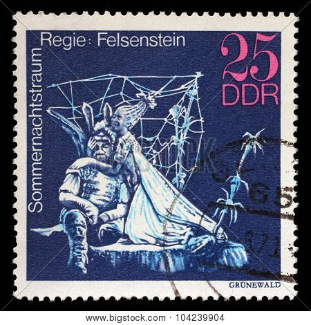 GDR - CIRCA 1973: a stamp printed in GDR shows Midsummer Marriage, Staged by Walter Felsenstein, Great Theatrical Production, circa 1973