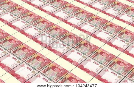 Indonesian rupiah bills stacks background. Computer generated 3D photo rendering.
