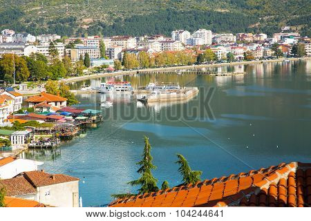 Aerial view of city of Ohrid and Ohrid Lake