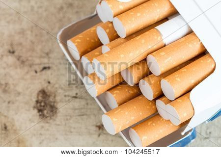 Cigarettes Sticking Out From The Pack