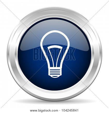 bulb cirle glossy dark blue web icon on white background