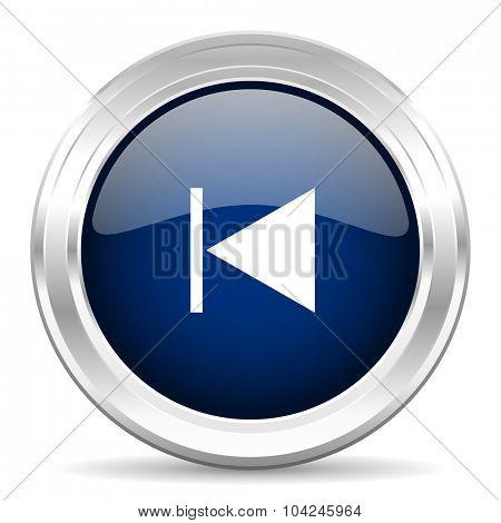 prev cirle glossy dark blue web icon on white background