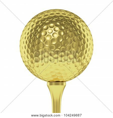 Golden Golf Ball On Tee Closeup Isolated On White