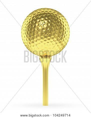 Golden Golf Ball On Tee Isolated On White