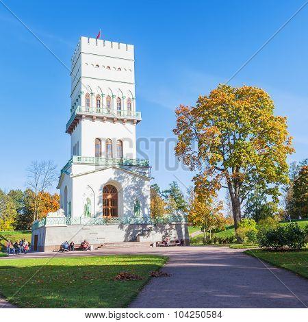 The White Tower In Alexander Park In Tsarskoe Selo Near Saint Petersburg