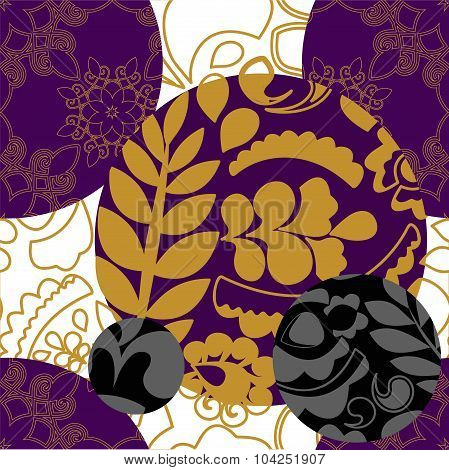 Seamless Floral Patchwork Pattern With Gold Leaves - Stock Vector