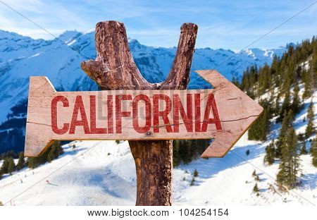 California wooden sign with winter background