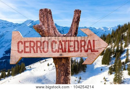Cerro Catedral wooden sign with winter background