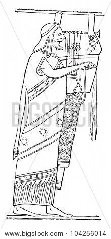 Zither player, vintage engraved illustration.