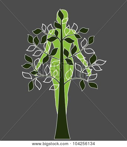woman tree graphic design
