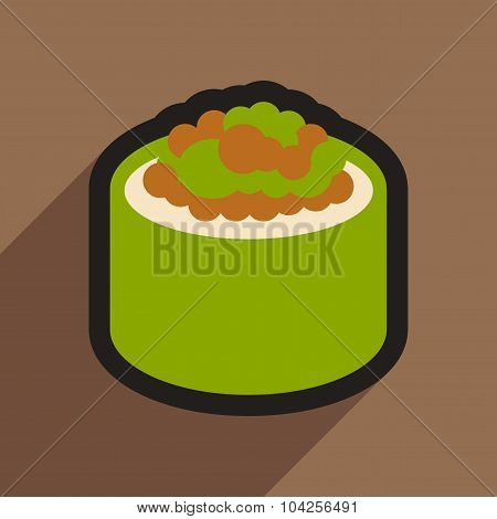 Flat with shadow icon sushi with caviar