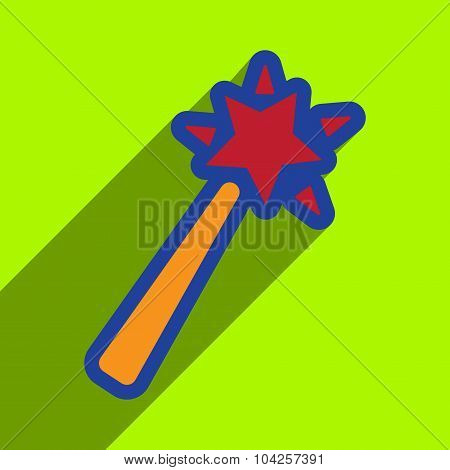 Flat with shadow Icon magic wand on a colored background