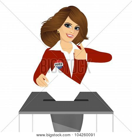 businesswoman putting ballot in vote box