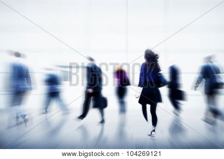 Business People City Life Hustle Hurry Occupation Concept poster