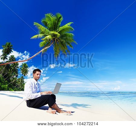 Businessman Working Laptop Summer Beach Concept