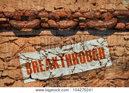 poster of Huge old chain and word Breakthrough on vintage background