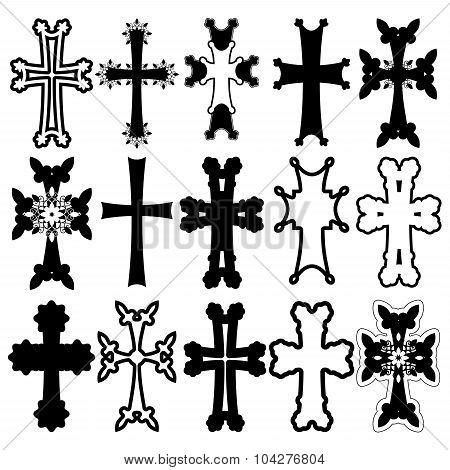 Set Of Crosses. Armenian Cross. Stock Vector