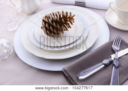Elegant Formal Dining Thanksgiving Table Setting.