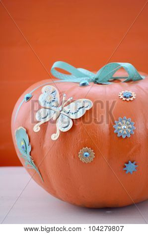 Hand Painted And Decorated Orange Pumpkin.