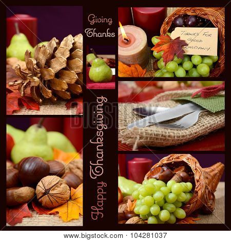 Country Style Rustic Thanksgiving Table Setting Collage.