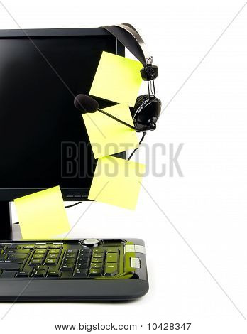 Computer With Voip Headset And Sticky Notes