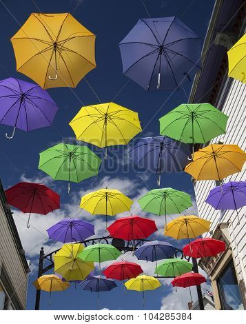 Colorful Umbrellas On Main Street
