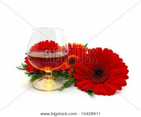 Cognac And Red Flowers
