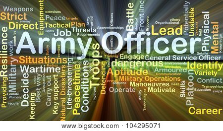 Background concept wordcloud illustration of army officer glowing light