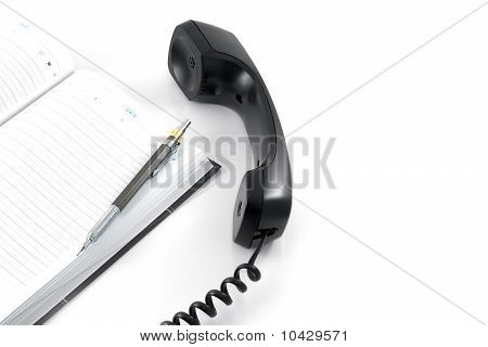 Telephone Receiver And Notebook