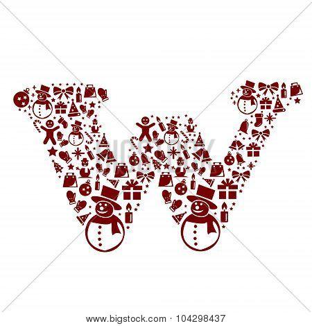 Christmas alphabet W on White Background .