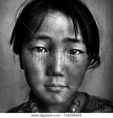 Portrait Mongolian Girl Western Mongolia Solitude Concept