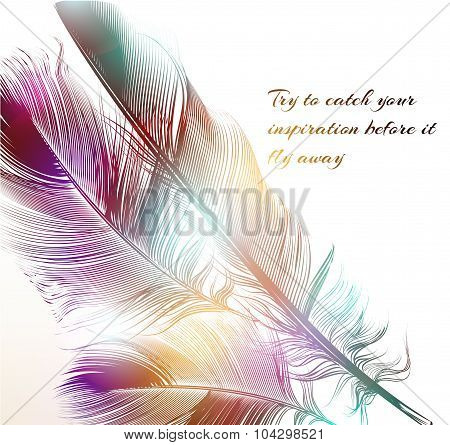 Vector Illustration With Engraved Feathers Conceptual Background Symbol Of Inspiration
