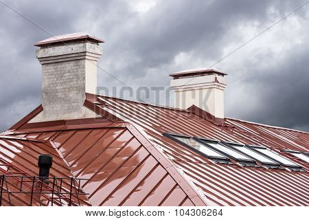 New Red Metal Roof With Skylights In Rain