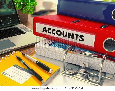 Red Office Folder with Inscription Accounts.