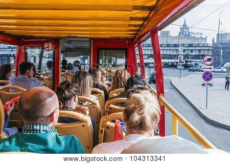 Tourists And Townspeople Excursions In Moscow On A Double Decker