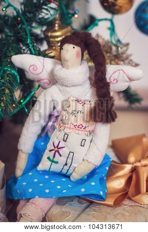 Funny Tilda Angel Girl Sitting On New Year Gifts