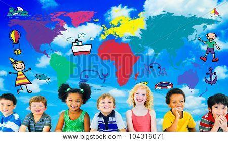 World Kids Journey Adventure Imagination Travel Concept poster