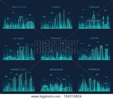 Arabian peninsula skylines line art style vector