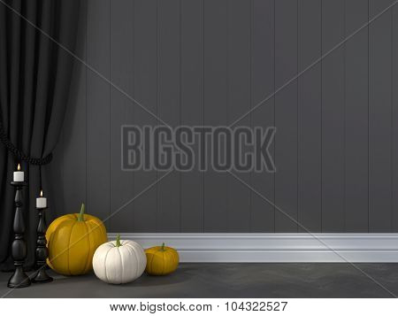 Pumpkin Against A Grey Wall