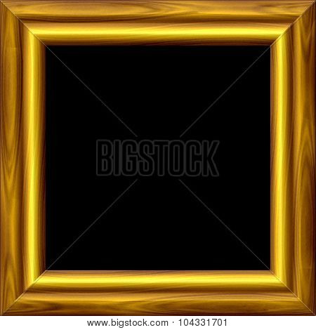 Vintage Grooved Golden Frame With Wooden Texture